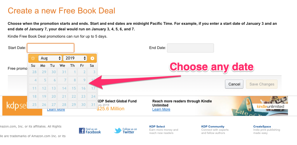 setting the date for amazon kdp promotion
